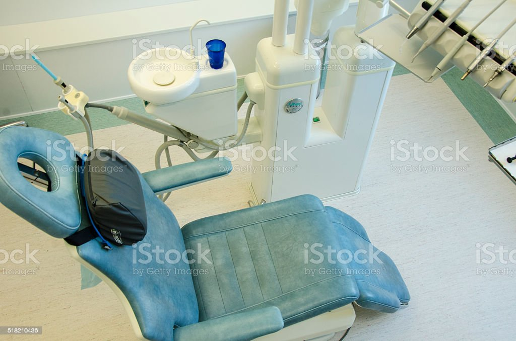 Dental chair standing in the clinic stock photo