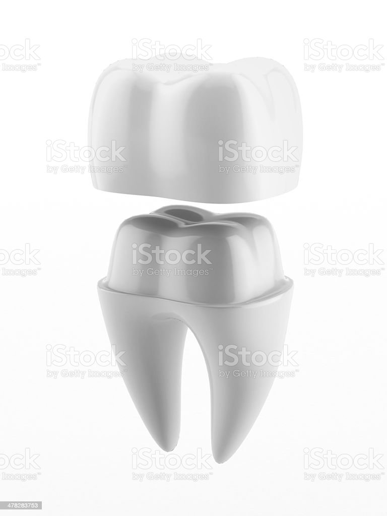 Dental crown and tooth stock photo