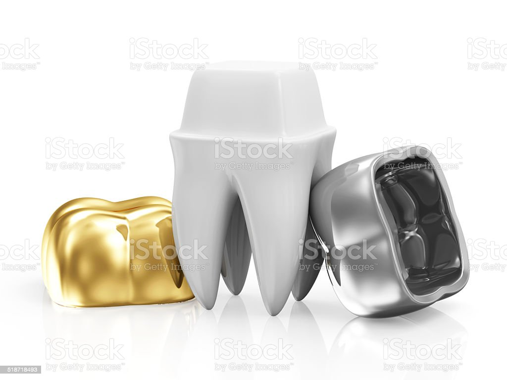 Dental Crowns with a Tooth isolated on white background stock photo