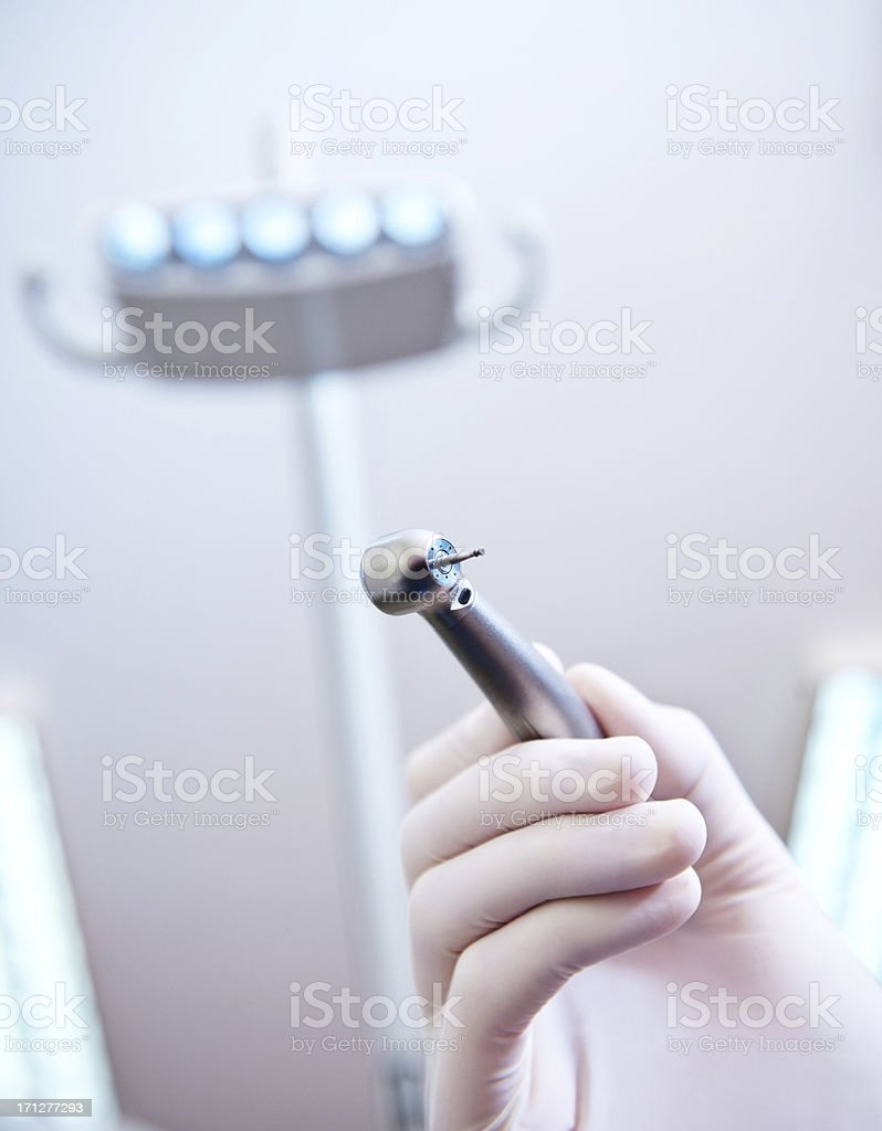 Dental Drill in Hand, Close Up royalty-free stock photo