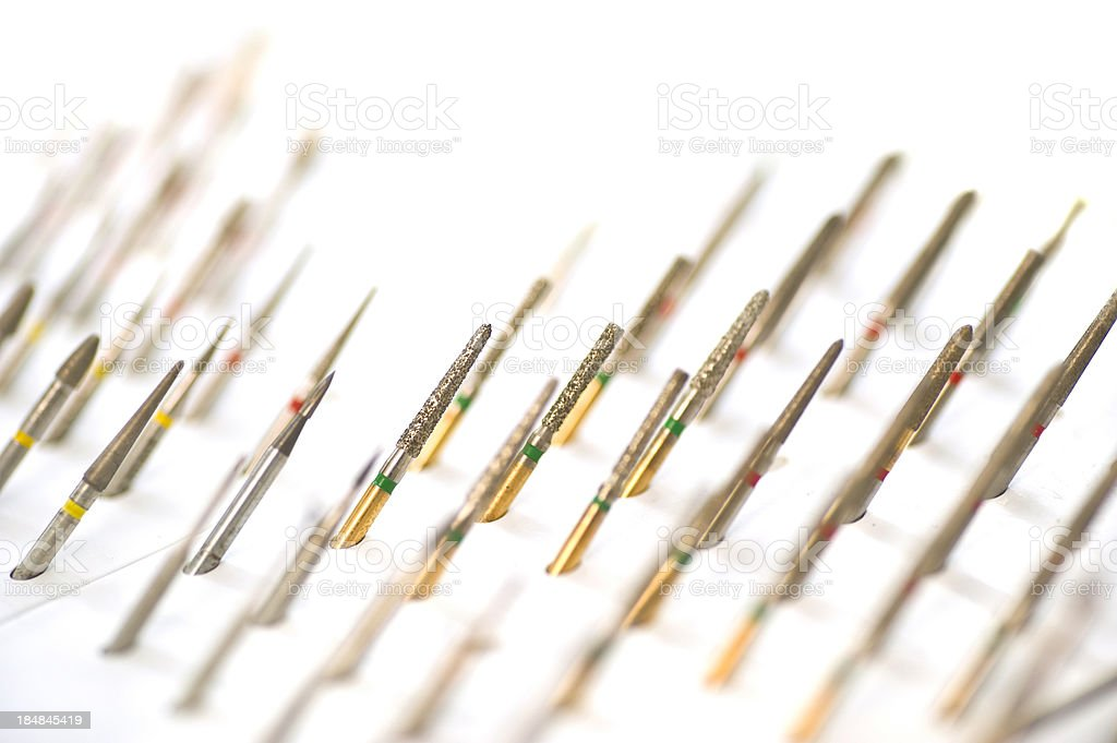 dental drills on white background royalty-free stock photo