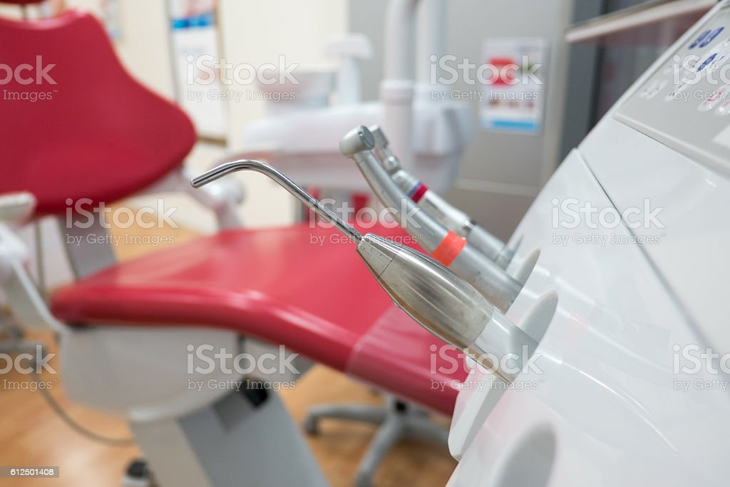 Dental equipment in surgery room stock photo