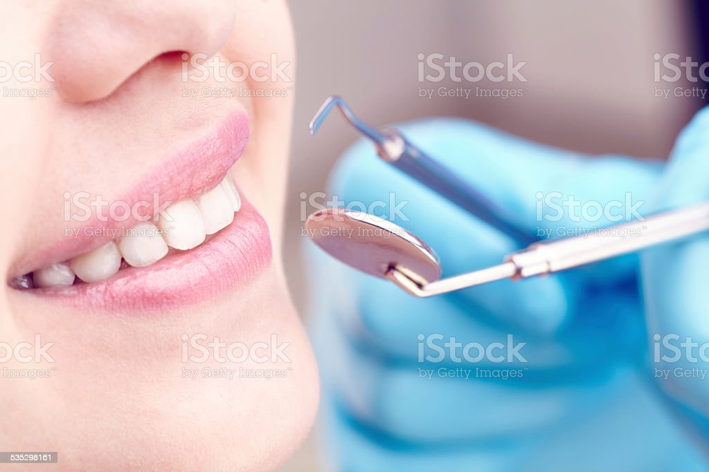 Dental exam stock photo