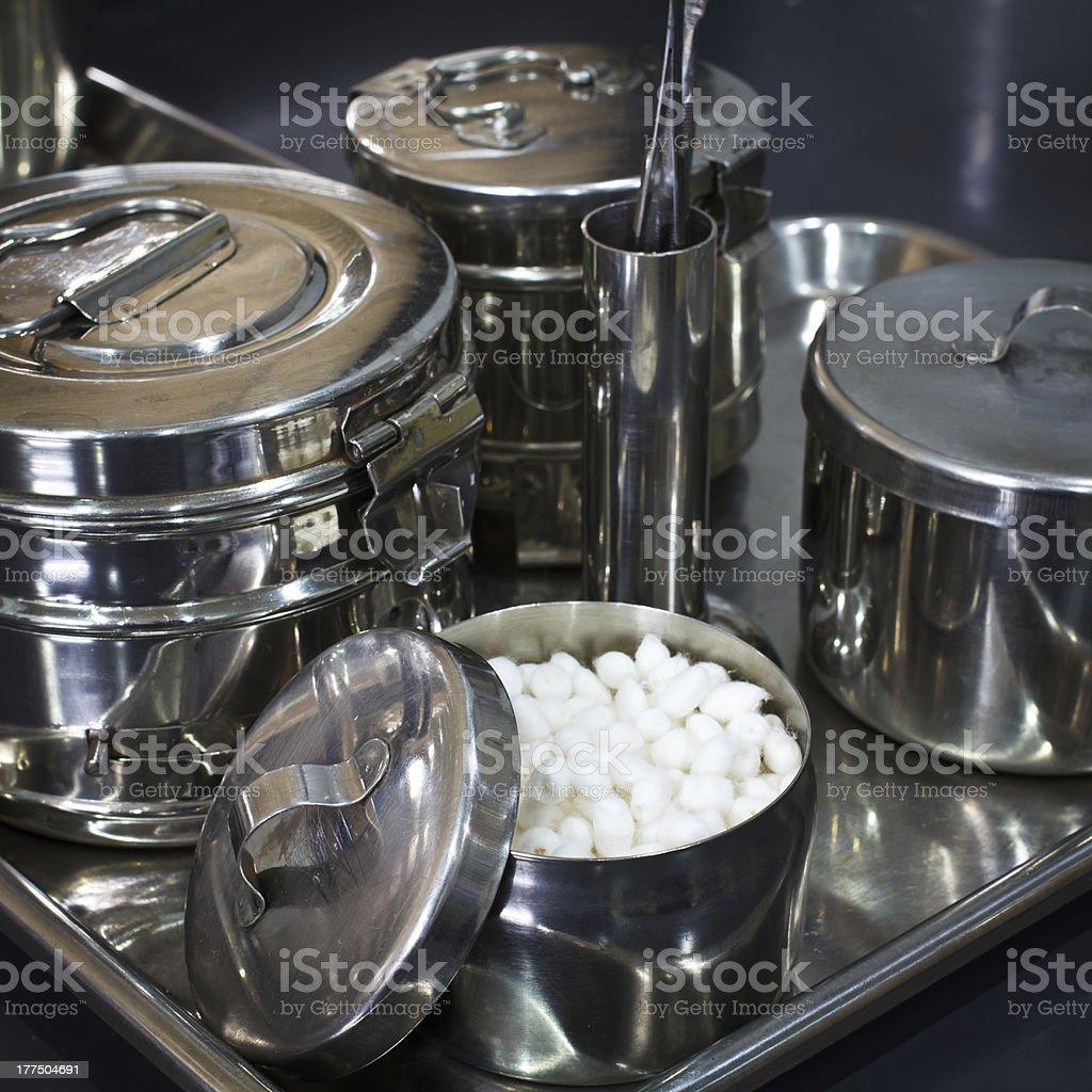 Dental flannelet and utensil stock photo