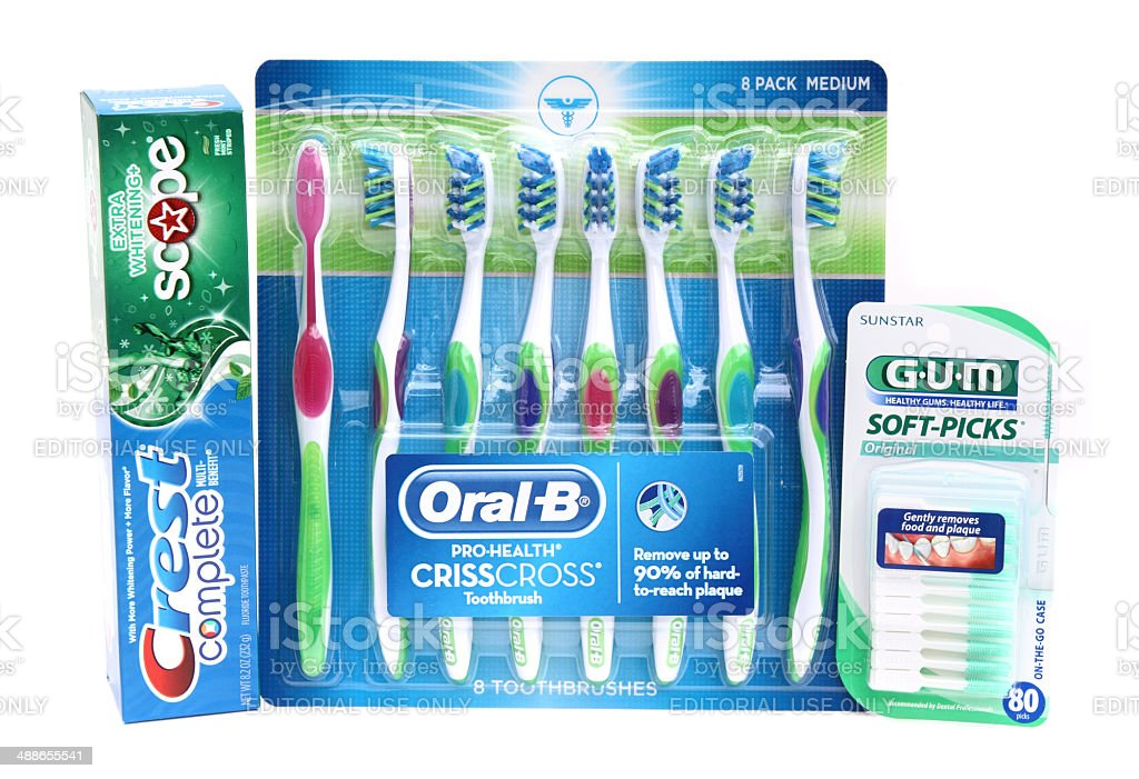 Dental hygiene products stock photo