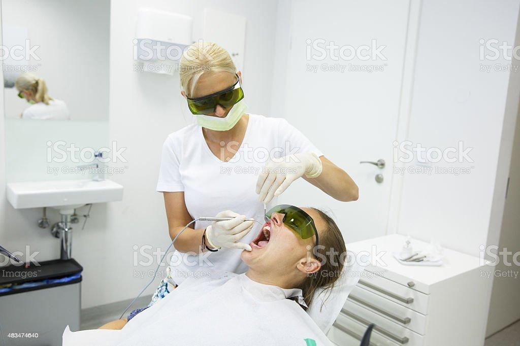 Dental hygienists office, diode laser stock photo