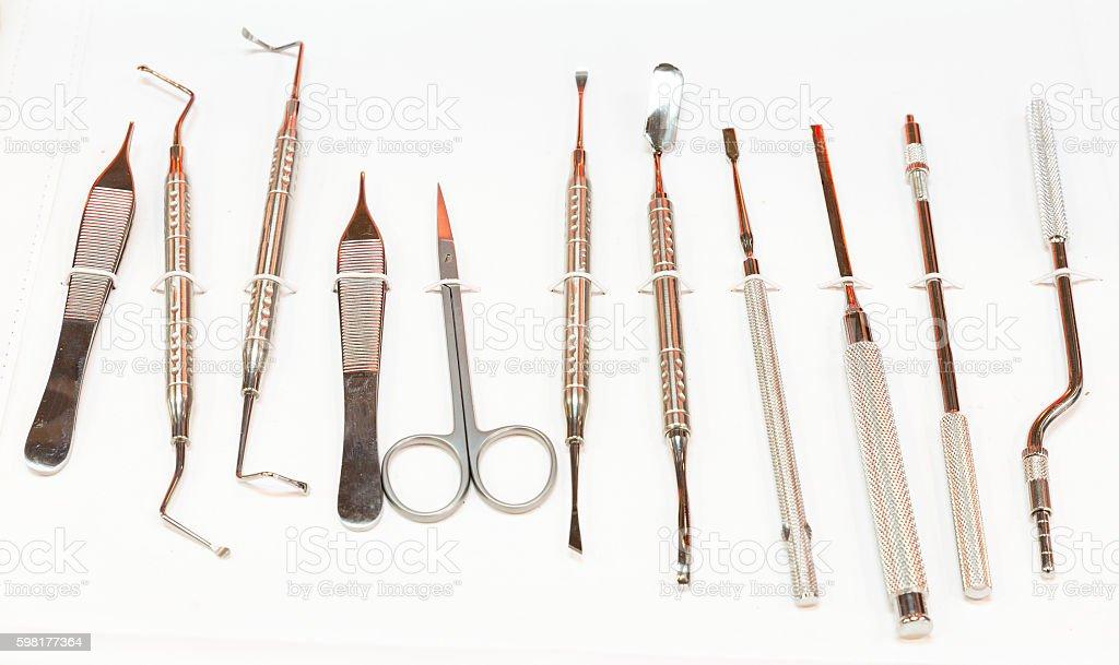 Dental instruments for stomatology practice stock photo