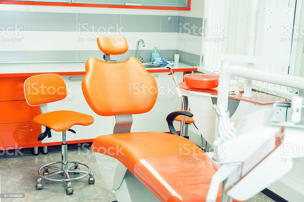 Dental modern office. Dentistry interior. Medical equipment. Dental clinic stock photo