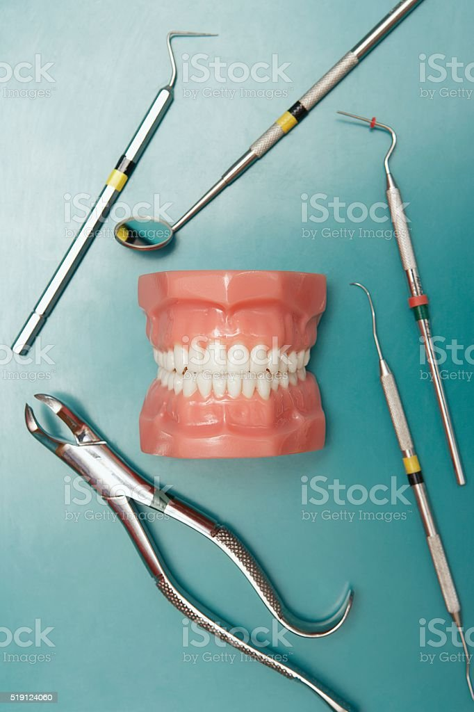 Dental molds and tools stock photo