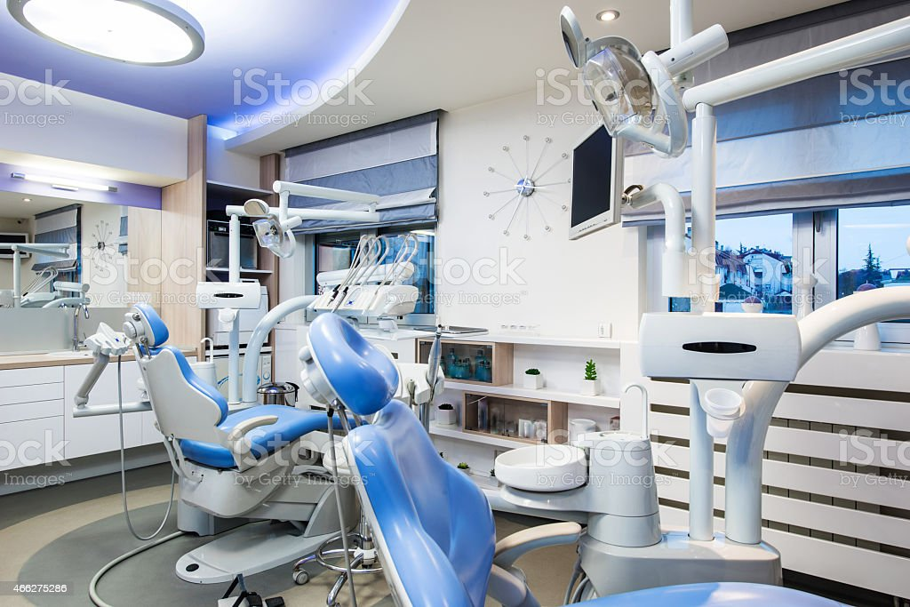 dental office interior design with chair and tools stock photo