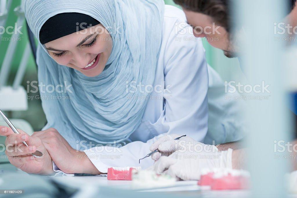Dental prosthesis, dentures, prosthetics work. stock photo