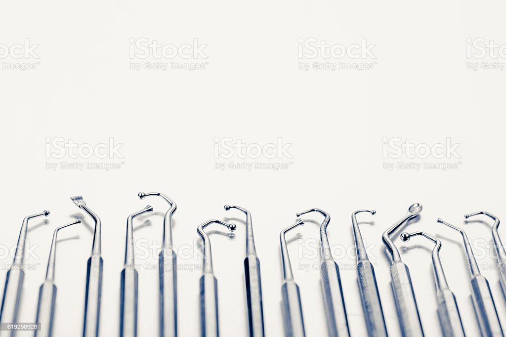 dental tools background stock photo