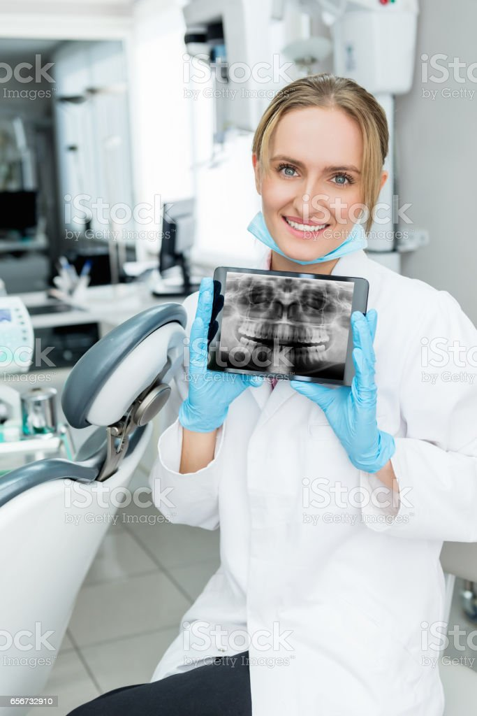 Dental x-ray image on tablet screen stock photo