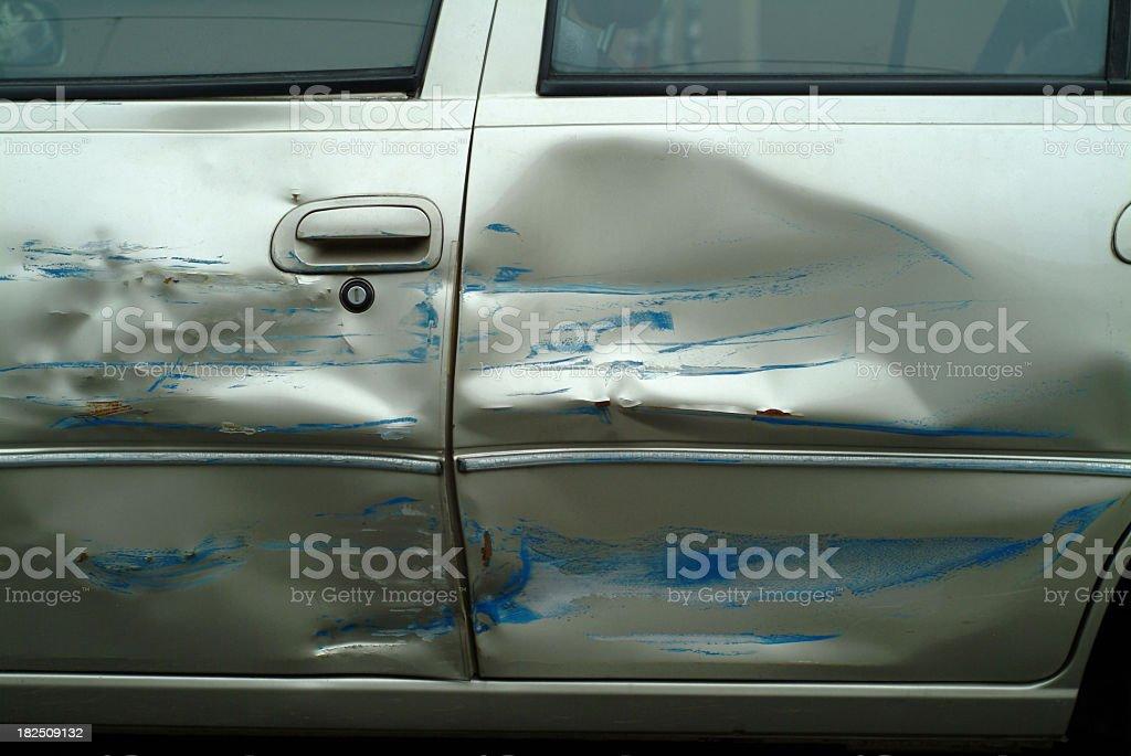 Dented Damaged Car Doors royalty-free stock photo