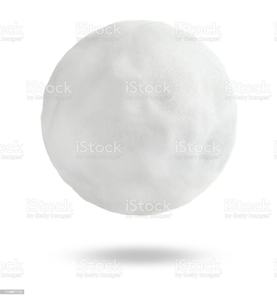 A dented snowball or hailstone isolated on white stock photo