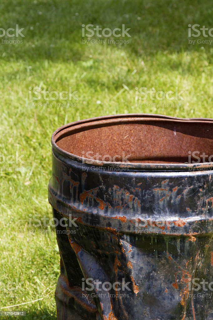Dented Trash Can royalty-free stock photo