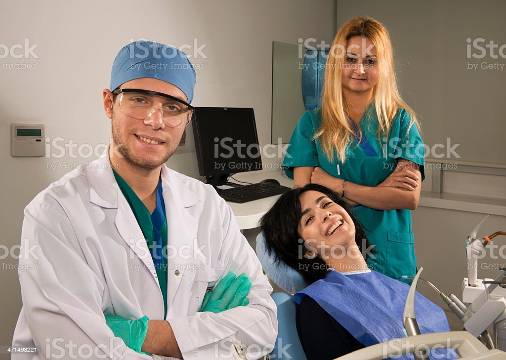 Dentist and his patient stock photo