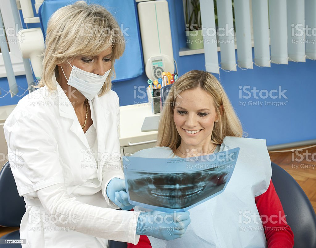 dentist and patient in dental office royalty-free stock photo