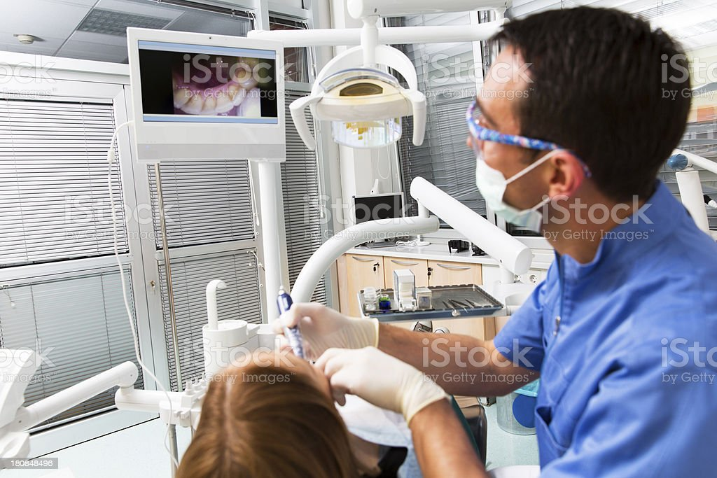 Dentist at work,using intraoral camera,watching picture on monitor royalty-free stock photo