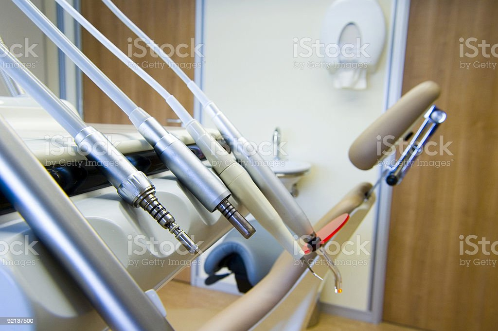 Dentist chair and tools royalty-free stock photo