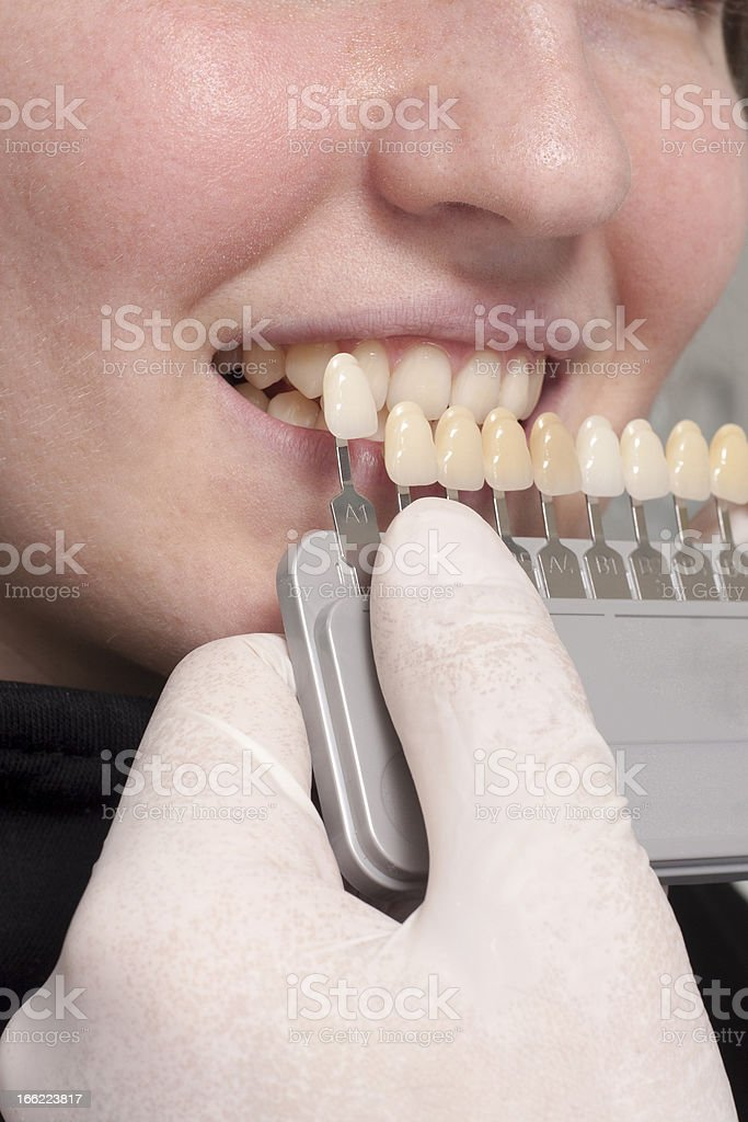 dentist choose white of teeth stock photo