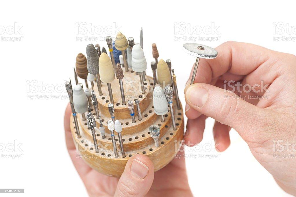 dentist drills - Bohraufsätze für Kieferorthopädie stock photo
