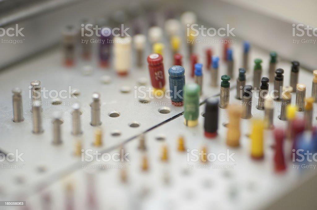 dentist equipment - Endodontische Aufbereitungsinstrumente stock photo