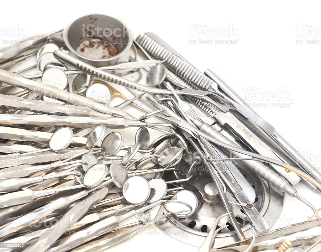 dentist equipment in sink for cleaning stock photo