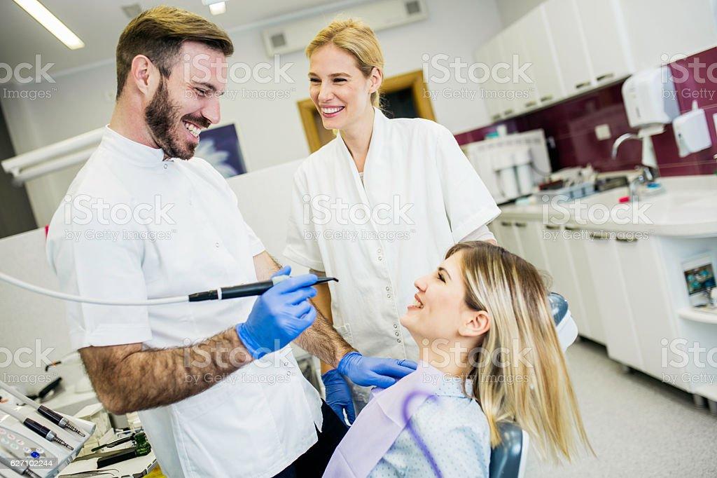 Dentist examining a patient stock photo