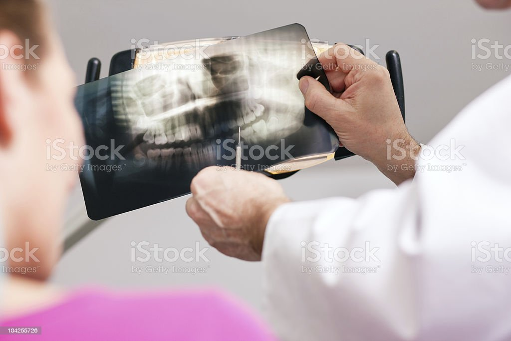 Dentist explaining x-ray to patient royalty-free stock photo