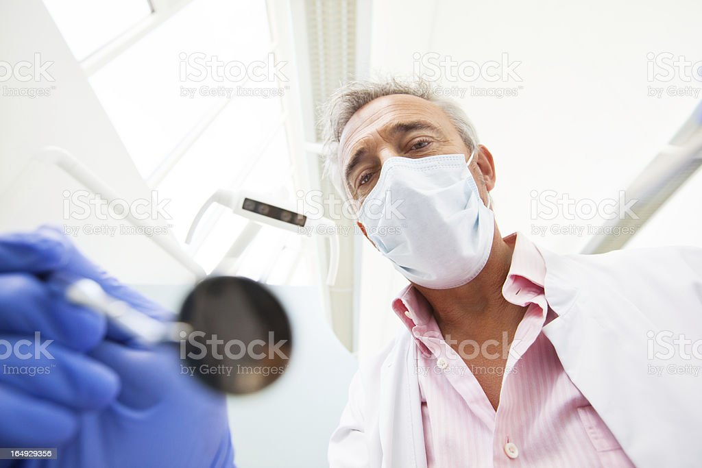 Dentist from the patient point of view stock photo