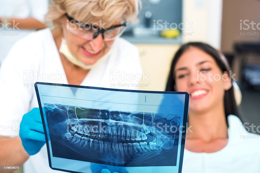 Dentist holding patient's orthopantogram stock photo