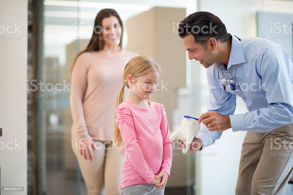 A dentist is teaching a little girl how to brush her stock photo