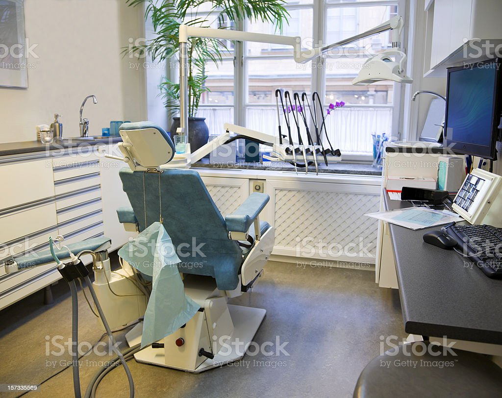 Dentist office with chair and instruments. royalty-free stock photo