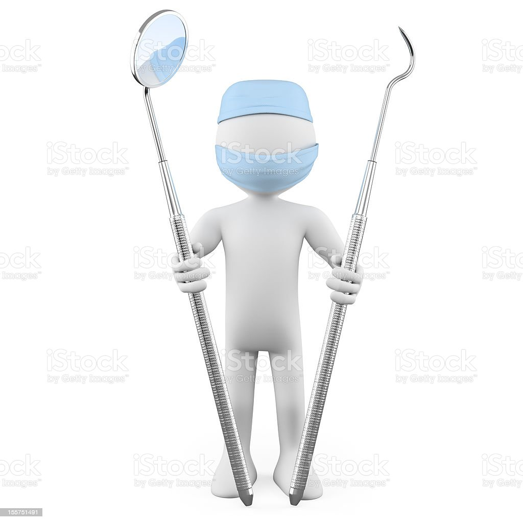 Dentist standing with mouth mirror and periodontal scaler stock photo