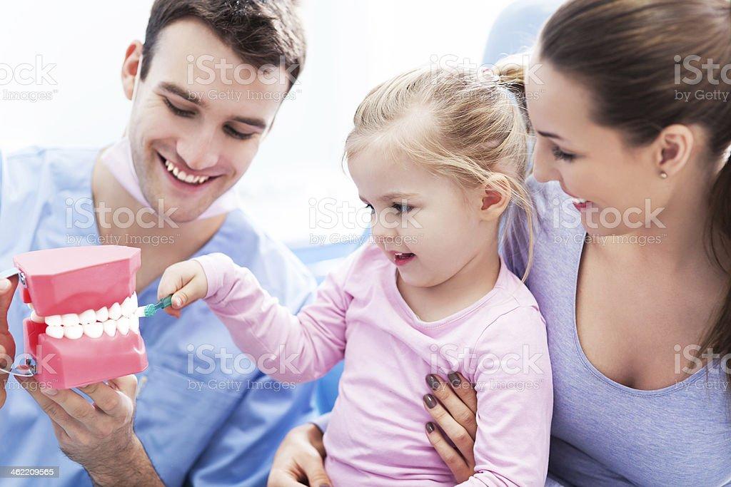 Dentist teaching girl how to brush teeth stock photo