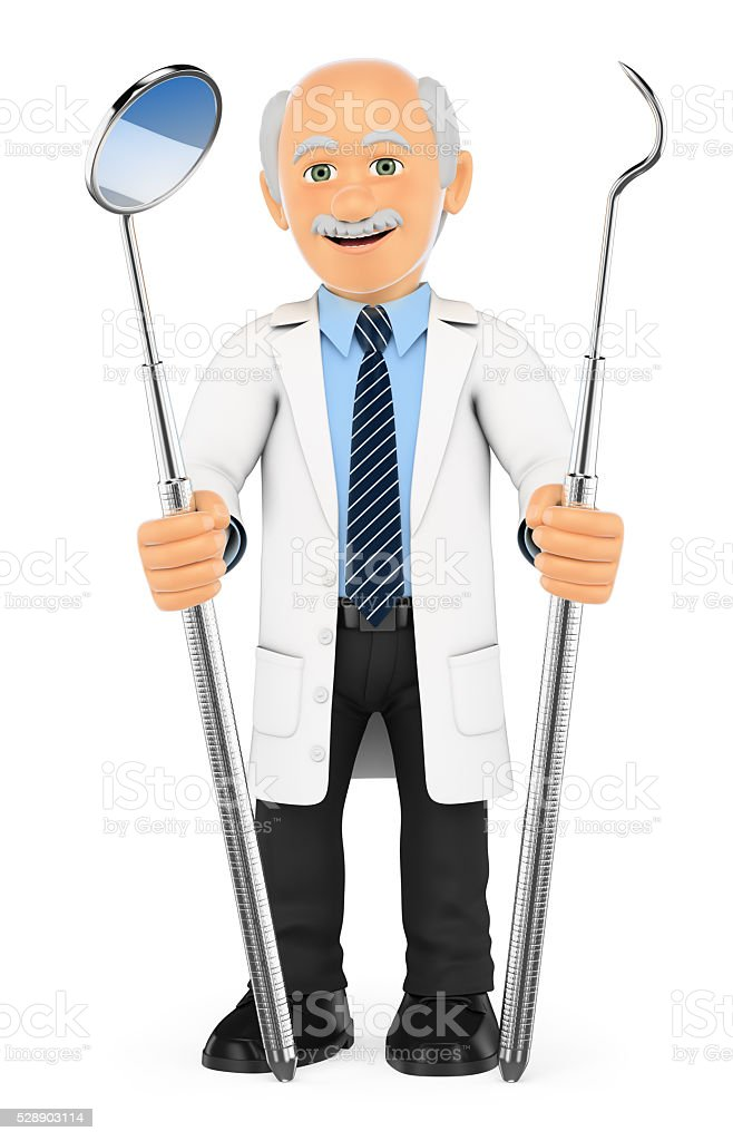 3D Dentist with mouth mirror and periodontal scaler stock photo
