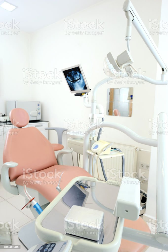 Dentist's chair with a computer monitor royalty-free stock photo