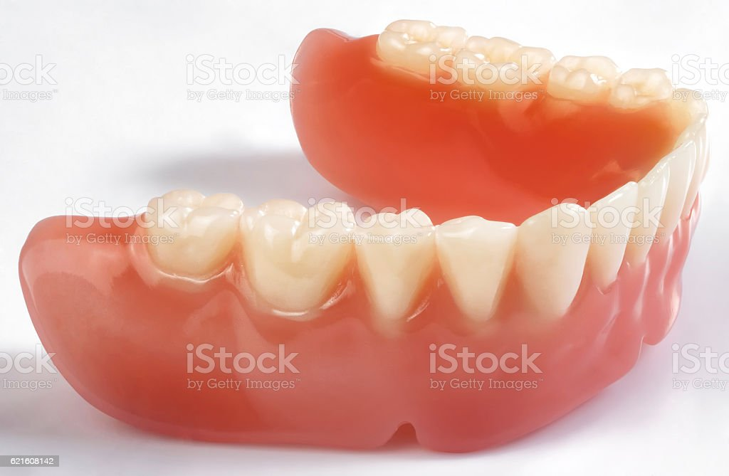 denture on white background stock photo