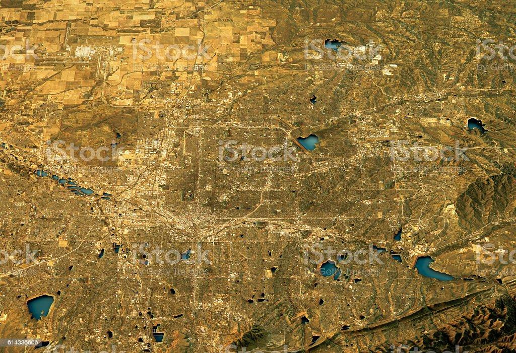 Denver 3D Landscape View West-East Natural Color vector art illustration