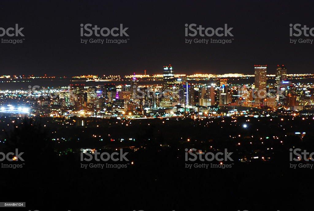 Denver After Dark Skyline stock photo