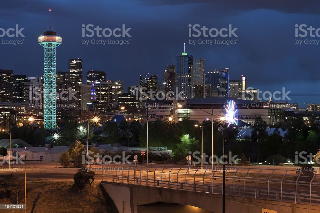 Denver at night stock photo