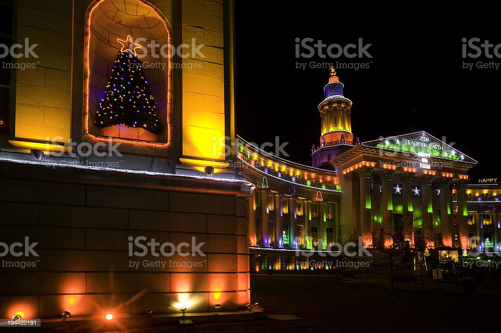Denver City and Country Building with Holiday Lights Glowing stock photo