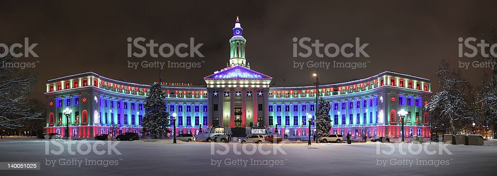 Denver City and County Building at Christmas stock photo