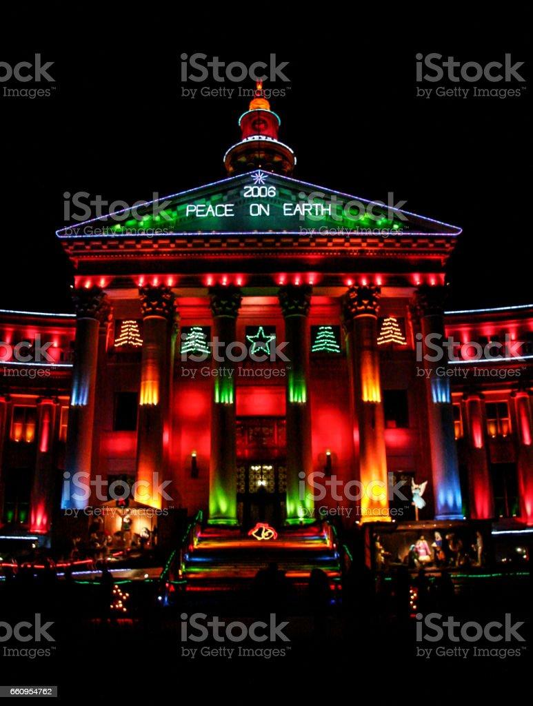 Denver Civic Center Christmas Lights stock photo