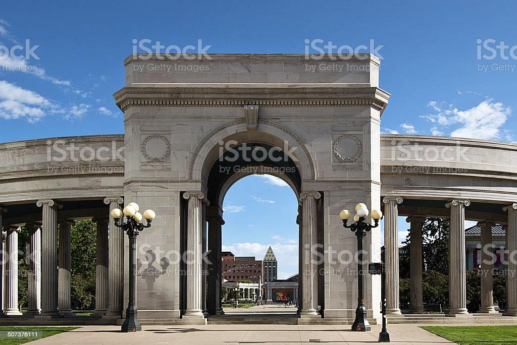 Denver Civic Center Park Entrance stock photo