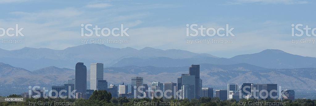 Denver Colorado and the Rocky Mountains stock photo