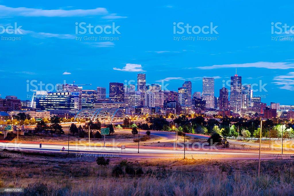 Denver, Colorado At Night stock photo