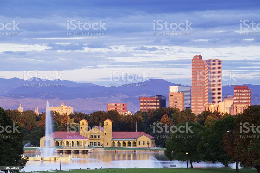 Denver Colorado City Park and Skyline at Sunrise stock photo