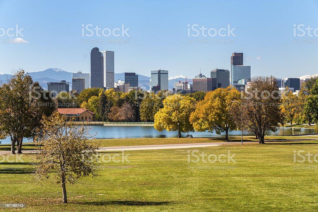 Denver, Colorado from City Park stock photo